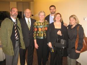 Lance Hampton '96, President Jack Ohle, Kris Ohle, Benjamin Bridgman, Jennifer Krempin Bridgman '96, Pollyanna Hampton